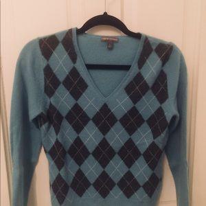 Blue grey argyle Cashmere sweater Sz L